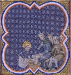 Koning Lodewijk IX (Saint Louis, r. 1226-1270) wast de voeten van armen