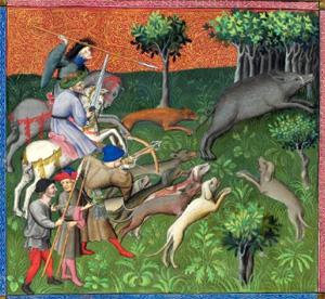 Jachtscène uit Le livre de la chasse, ca. 1407 (Morgan Library)