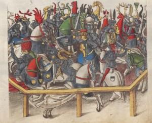 Toernooi met botte zwaarden. Das Wappenbuch Conrads von Grünenberg, BSB, Cgm 145, ca. 1480.