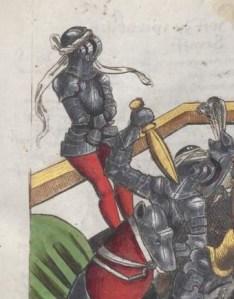Ridder op de strafbank. Das Wappenbuch Conrads von Grünenberg. BSB, Cgm 145, ca. 1480.