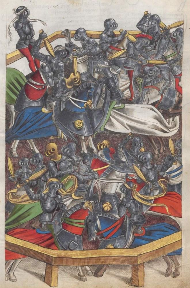 Toernooi met knuppels. Das Wappenbuch  Conrads von Grünenberg. München, Bayerische Staatsbibliothek (BSB), Cgm 145, ca. 1480.