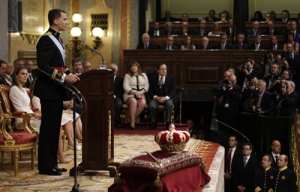 Filips VI tijdens zijn aanvaardingstoespraak voor de verzamelde Spaanse volksvertegenwoordiging