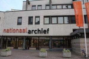 Toegang tot het Nationaal Archief vlakbij het Centraal Station te Den Haag