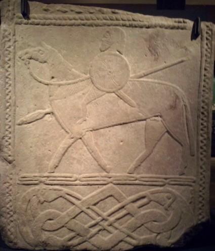 Ruitersteen met een Merovingische krijger,  Hornhausen, ca. 700