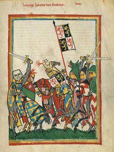 Hertog Jan I van Brabant uit de Manesse codex. Bron: UB Heidelberg, Cod. Pal. germ. 848, fol. 18r. Zie: http://digi.ub.uni-heidelberg.de/diglit/cpg848/0031