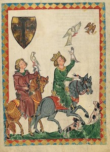 Koning Konrad de Jonge op valkenjacht.  Bron: Manesse-codex, UB Heidelberg, Cod. Pal. germ. 848, fol. 18r. Zie: http://digi.ub.uni-heidelberg.de/diglit/cpg848/0009