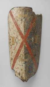 Bourgondisch wapenschild met Andreas-kruis en vier vuurslagen. Amsterdam, Rijksmuseum, inv. NG-KOG-2517-C. Zie https://www.rijksmuseum.nl/nl/mijn/verzamelingen/166278--man-en-paard/middeleeuwse-geschiedenis-in-100-objecten/objecten#/NG-KOG-2517-C,17