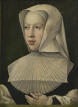 Portret van Margareta van Oostenrijk (1480-1530), landvoogdes der Nederlanden. Bernard van Orley (atelier van). Brussel, Koninklijke Musea voor Schone Kunsten, inv. 4059.
