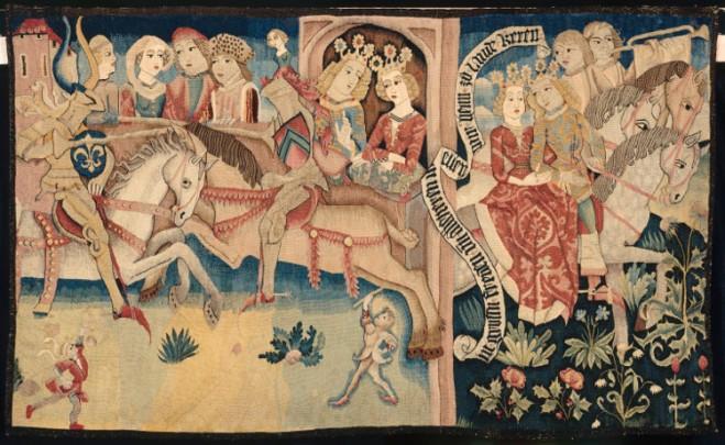 Wandtapijt met een toernooi, Straatsburg, ca. 1475-1500. Musée de Cluny, inv. RF 7351 (zie http://www.musee-moyenage.fr/collection/oeuvre/tournoi-tapisserie.html).