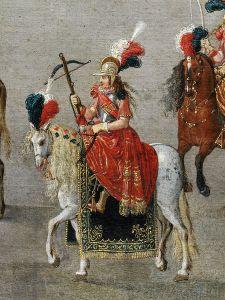 Kruisboogschutter tijdens de Ommegang. Denys van Alsloot, De Ommegang in Brussel in 1615. Londen, Victoria & Albert  Museum.