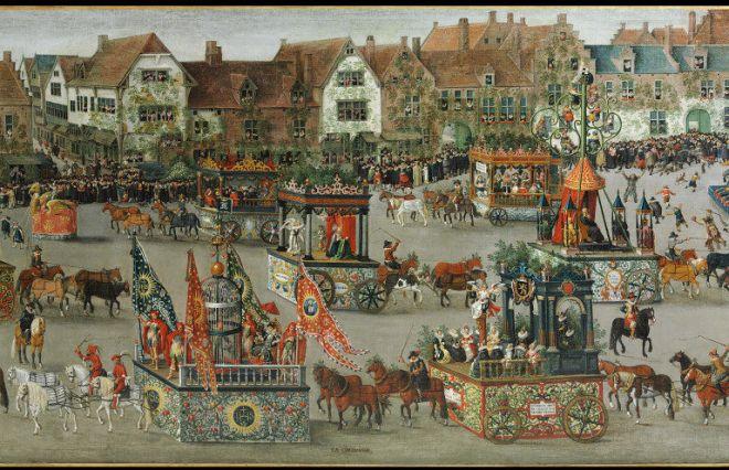 Rijk opgetuigde karren tijdens de Ommegang. Denys van Alsloot, De Ommegang in Brussel in 1615. Londen, Victoria & Albert  Museum.