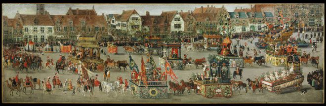 Denys van Alsloot, De Ommegang in Brussel in 1615. Londen, Victoria & Albert  Museum (zie http://collections.vam.ac.uk/item/O18973/the-ommeganck-in-brussels-on-painting-alsloot-denys-van/)