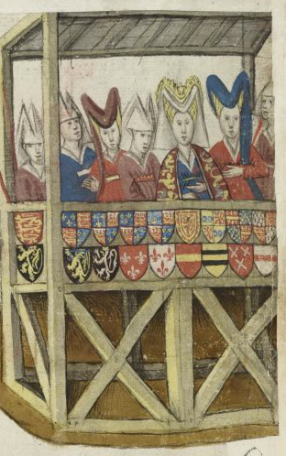 Adellijke dames op de eretribune bij een toernooi. Koninklijke Bibliotheek, Brussel, ms. IV 684 f. 43v (zie http://images.kbr.be/multi/ms_IV_684Viewer/imageViewer.html)