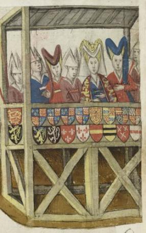 Adellijke dames op de eretribune bij een toernooi. Koninklijke Bibliotheek, Brussel, ms. IV 684 f. 43v (zie http://images.kbr.be/multi/ms_IV_684Viewer/imageViewer.html)