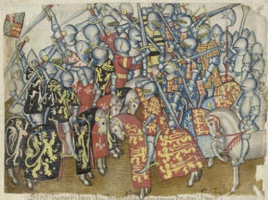 Toernooi tussen de teams van Jan I en Edward I. KB, Brussel, ms. 684 f. 44r.