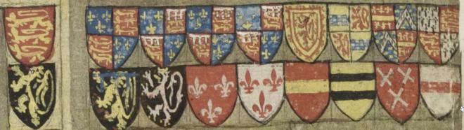 Wapenschilden op de eretribune bij het toernooi. KB, Brussel, ms. 684 f. 43v.