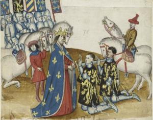 Ridderslag van Jan I van Brabant en zijn broer Godevaart. KB, Brussel, ms. IV 684 f. 43r.