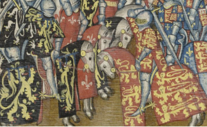 Jan II vs. Edward I tijdens een toernooi in Engeland. KB, Brussel, ms IV 684 f. 44r.