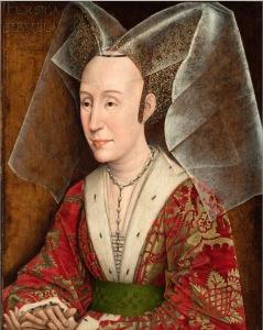 Portret, olieverf op paneel, ca. 1500. Kopie naar Rogier van der Weyden (J. Paul Getty Museum, Malibu, Los Angeles). Bron: http://www.wga.hu/frames-e.html?/html/w/weyden/rogier/18fracop/6isabell.html
