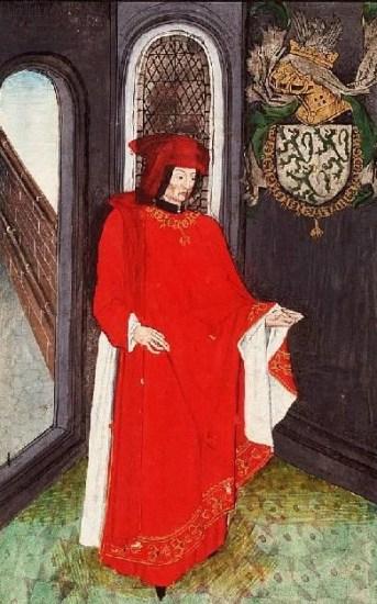 Jean de Lannoy als Vliesridder. Den Haag, Koninklijke Bibliotheek, ms. 76 E 10 fol. 63v. Bron: hier  http://manuscripts.kb.nl/show/images_text/76+E+10/page/11