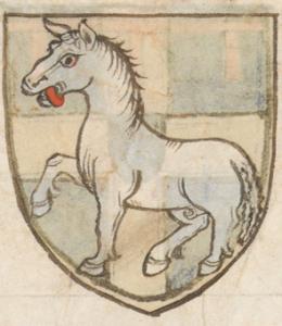 Wapen van Bartout van Assendelft. Uit: Wapenboek Beyeren (ca. 1400) f. 58r, Den Haag, Koninklijke Bibliotheek. Bron: klik hier.