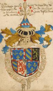 Wapenschild van Filips de Goede. Wapenboek van Hendrik van Heesel, ca. 1450. Antwerpen, Stadsbibliotheek, B 89420 A http://anet.ua.ac.be/desktop/sba/static/ebooks/EHC_B89420.pdf