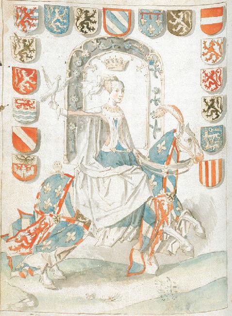Maria van Bourgondië met de zeventien wapenschilden van haar territoria, ca. 1480-1500. Uit: Anthonis de Roovere, Cronicke van Vlaenderen. Brugge, Openbare Bibliotheek, ms. 437. Bron: klik hier.