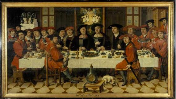 Maaltijd van de Heren van Liere te Antwerpen (1523). Anoniem Zuid-Nederlands. Olieverf op paneel. Collectie Centraal Museum, Utrecht. Zie hier.
