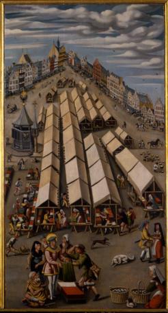 Anoniem, De lakenmarkt van 's-Hertogenbosch (ca. 1530). Noordbrabants Museum. Bron: klik hier http://www.thuisinbrabant.nl/object/noordbrabants-museum/01596