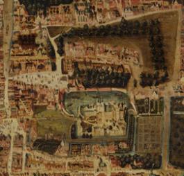 Detail van de plattegrond van Den Haag rond 1570. Collectie Haags Historisch Museum.