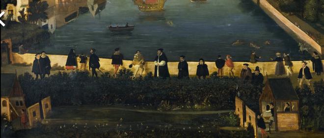 De doelen van de voetboogschutterij van Sint-Sebastiaan met op de achtergrond de hofvijver. Collectie Haags Historisch Museum.